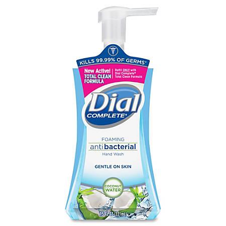 Dial Complete Coconut Water Foam Hand Wash - 7.5 fl oz (221.8 mL) - Pump Bottle Dispenser - Hand - Blue - Moisturizing, Hypoallergenic, Anti-bacterial - 8 / Carton