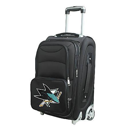 "Denco Nylon Expandable Upright Rolling Carry-On Luggage, 21""H x 13""W x 9""D, San Jose Sharks, Black"