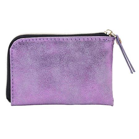 Office Depot® Brand Zippered Metallic Business Card Holder, Purple