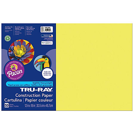 "Tru-Ray® Construction Paper, 12"" x 18"", 50% Recycled, Lively Lemon, Pack Of 50"
