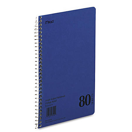 "Mead Single Subject College-ruled Notebook - 80 Sheets - Coilock - 6"" x 9 1/2"" - White Paper - Assorted Cover - Durapress Cover - 1Each"