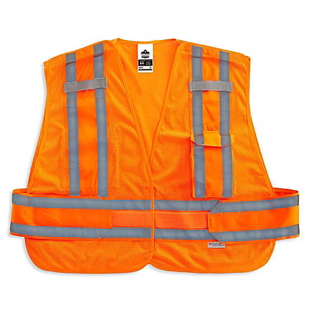 Ergodyne GloWear Safety Vest, Expandable, Type-P Class 2, 3X, Orange, 8244PSV