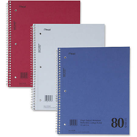 "MeadWestvaco Mid Tier Notebook - 80 Sheets - Coilock - 15 lb Basis Weight - 8 1/2"" x 11"" - Assorted Cover - Durapress Cover - Perforated - 1Each"