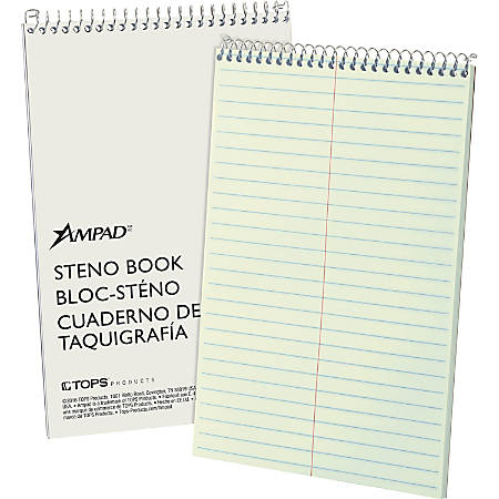"Ampad Kraft Cover Steno Book, 6"" x 9"", 80 Sheets, Green Tint Paper, Kraft Cover"
