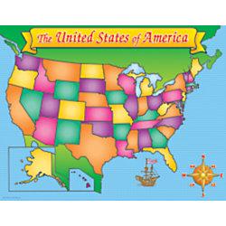 "Scholastic Practice Chart, USA Map, 17"" x 22"""