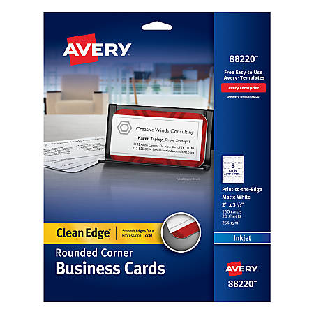 Avery inkjet clean edge business cards with rounded edge 2 x 3 12 avery inkjet clean edge business cards reheart Choice Image