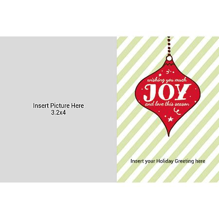 Flat Photo Greeting Card, Joy With Stripes, Horizontal