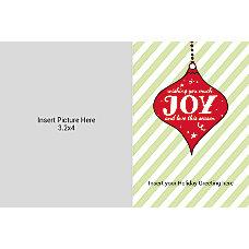 Photo Greeting Card Joy With Stripes