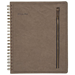"""AT-A-GLANCE® Signature Collection™ 13-Month Weekly/Monthly Planner, 8 3/8"""" x 11"""", Olive, January 2019 to January 2020"""