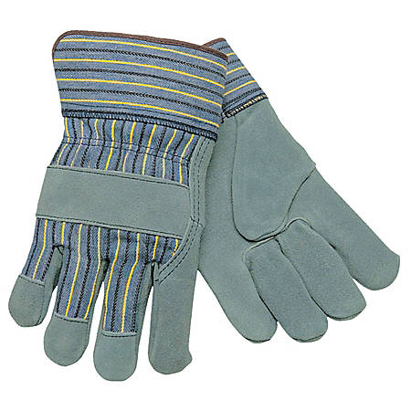 Memphis Glove Select Split Cow Work Gloves, Large, Brown/Gray, Pack Of 12 Pairs