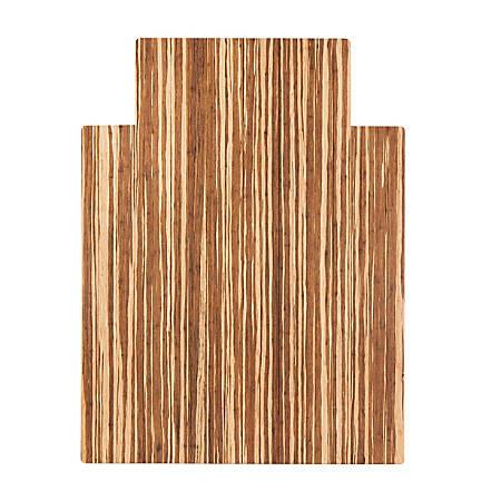 "Anji Mountain Strand-Woven Bamboo Roll-Up Chair Mat, With Lip, Rectangular, 52"" x 48"", Light Brown"