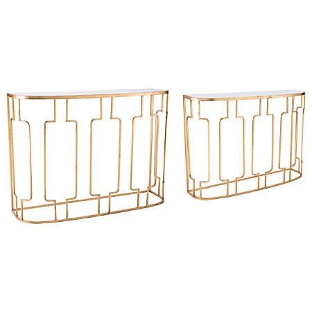 Zuo Modern Roma Console Tables, Rectangular, Mirror/Gold, Set Of 2 Tables