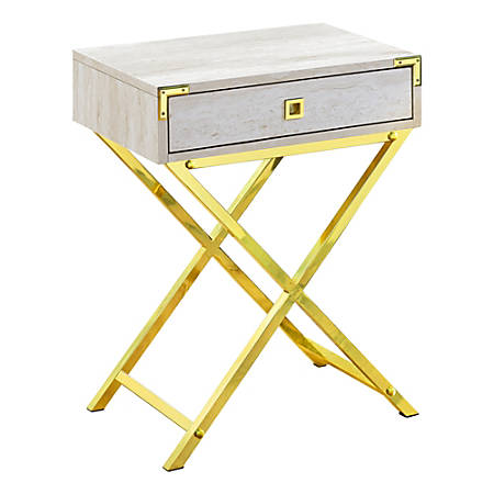 """Monarch Specialties Leigh Accent Table, 24""""H x 18-1/4""""W x 12""""D, Beige Marble/Gold"""