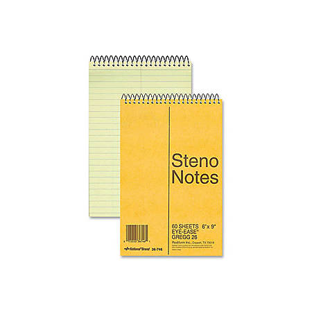 "Rediform Eye-ease Steno Notebook - 80 Sheets - Wire Bound - Gregg Ruled - 16 lb Basis Weight - 6"" x 9"" - Green Paper - Brown Cover - Board Cover - Hard Cover, Rigid - 1Each"