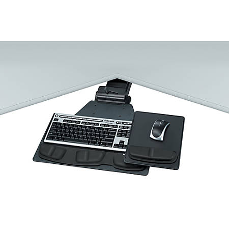 Fellowes® Corner Keyboard Tray, Graphite/Silver