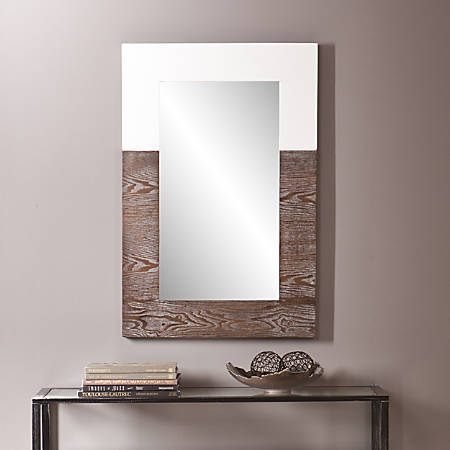 "Holly & Martin Wagars Wall Mirror, 36""H x 24""W x 1 3/4""D, Burnt Oak/White"