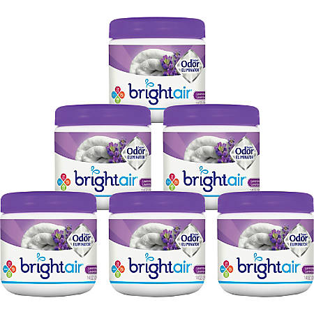 Bright Air Super Odor Eliminator Air Fresheners, Lavender/Fresh Linen Scent, 14 Oz, Pack Of 6