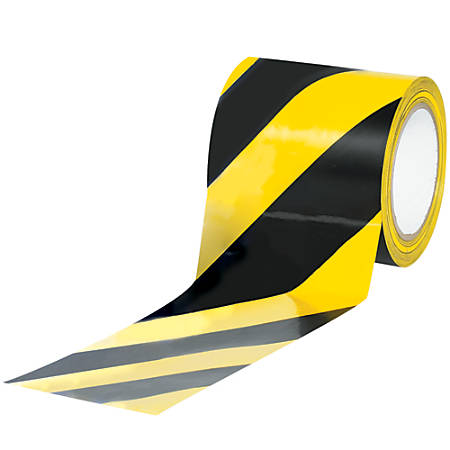 """BOX Packaging Striped Vinyl Tape, 3"""" Core, 4"""" x 36 Yd., Black/Yellow, Case Of 3"""