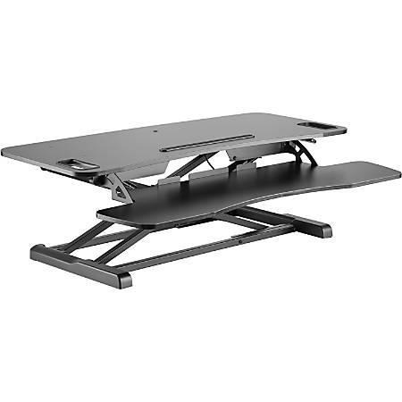 "Amer Mounts Sit/Stand 37.4"" Height Adjust Desk - EZRiser36 Height Adjustable Sit/Stand Desk Computer Riser, Dual Monitor Capable, 37.4"" wide with Keyboard Tray - Black Finish"
