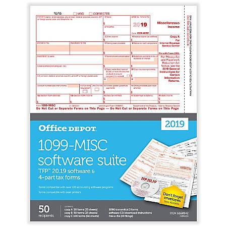 """Office Depot® Brand 1099-MISC Laser Tax Forms With Software, 2019 Tax Year, 4-Part, 8-1/2"""" x 11"""", Pack Of 50 Form Sets"""