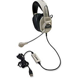 Califone 3066USB Deluxe Stereo Headset - Stereo - USB - Wired - 20 Hz - 20 kHz - Over-the-head - Binaural - Ear-cup - 7 ft Cable - Electret Microphone