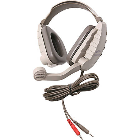 Califone Stereo Headphone W/ 3.5mm Plug, Mic, Via Ergoguys - Stereo - Mini-phone - Wired - 64 Ohm - Over-the-head - Binaural - Ear-cup - 6 ft Cable - Electret, Noise Cancelling Microphone - Noise Canceling - Gray, Beige