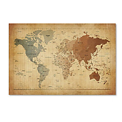 Trademark global time zones map of the world gallery wrapped canvas trademark global time zones map of the world gallery wrapped canvas print by michael tompsett gumiabroncs Image collections