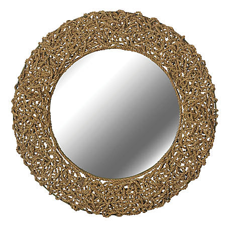 "Kenroy Home Wall Mirror, Seagrass, 33""H x 33""W x 3""D, Natural"