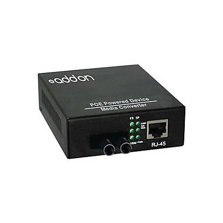 AddOn 10/100Base-TX(RJ-45) to 100Base-LX(ST) SMF 1310nm 20km POE Media Converter
