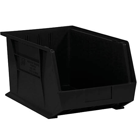 """Office Depot® Brand Plastic Stack And Hang Bin Boxes, 5 3/8"""" x 4 1/8"""" x 3"""", Black, Pack Of 24"""