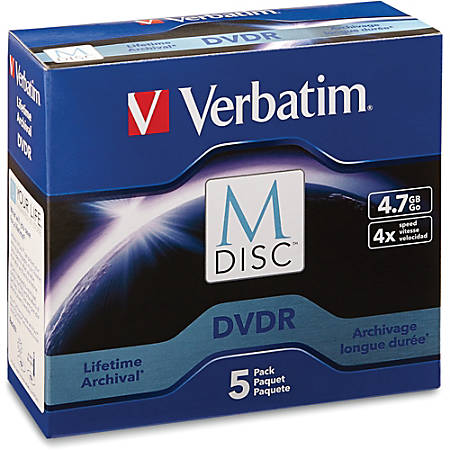 Verbatim M-Disc DVDR 4.7GB 4X with Branded Surface - 5pk Jewel Case Box - 120mm - 2 Hour Maximum Recording Time