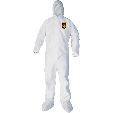Kleenguard A40 Protection Coveralls - Hood, Zipper Front, Elastic Wrist, Elastic Ankle, Breathable, Low Linting - Medium Size - Liquid, Flying Particle Protection - White - 25 / Carton