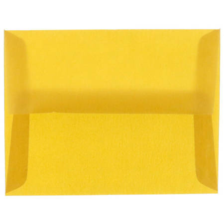 "JAM Paper® Translucent Envelopes With Moisture Seal Closure, #4 Bar (A1), 3 5/8"" x 5 1/8"", Gold, Pack Of 25"