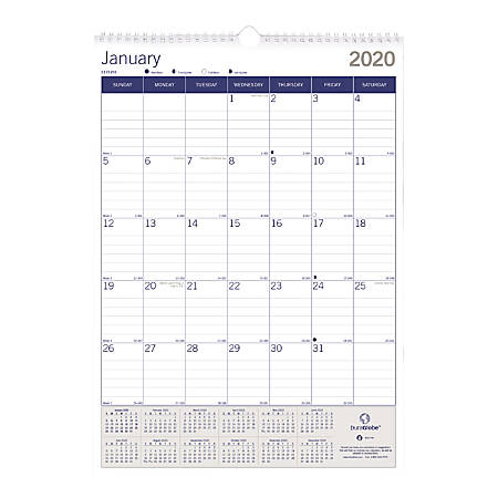"Blueline® DuraGlobe Monthly Wall Calendar, 17"" x 12"", 50% Recycled, January to December 2020"