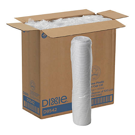 Dixie® by GP PRO Large Dome Plastic Hot Cup Lids For 12-/16-Oz Paper Cups, White, Case Of 1,000
