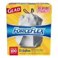 Deals on 100CT Glad ForceFlex Drawstring Trash Bags 13 Gallons