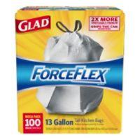 Glad ForceFlex Drawstring Trash Bags, 13 Gallons, White, Box Of 100 Deals