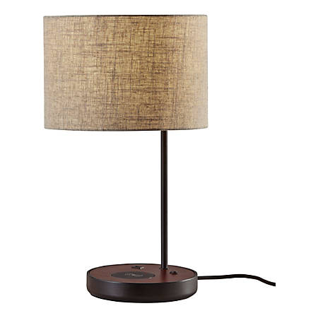 """Adesso® Oliver Wireless Charging Table Lamp, 19-1/2""""H, Beige Shade/Black Base"""