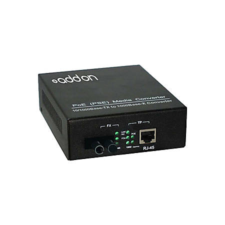 AddOn 10/100/1000Base-TX(RJ-45) to 1000Base-BXD(ST) BiDi SMF 1550nm/1310nm 20km POE Media Converter - 100% compatible and guaranteed to work