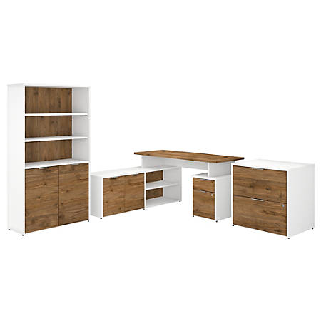 """Bush Business Furniture Jamestown 60""""W L-Shaped Desk With Lateral File Cabinet And 5-Shelf Bookcase, Fresh Walnut/White, Standard Delivery"""