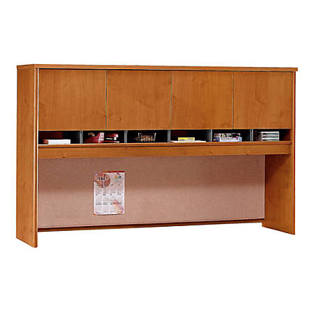 "Bush Business Furniture Components 4 Door Hutch, 72""W, Natural Cherry, Premium Installation"