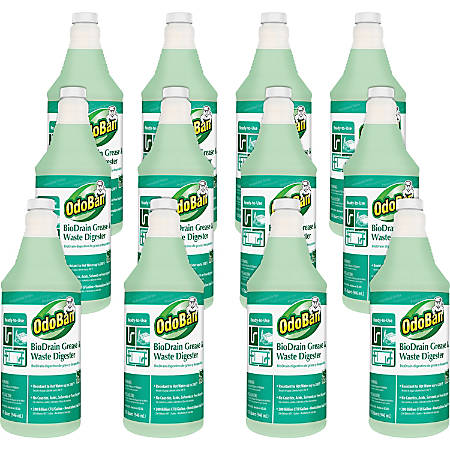 OdoBan BioDrain Grease/Waste Digester - Ready-To-Use Liquid - 0.25 gal (32 fl oz) - 12 / Carton - Green