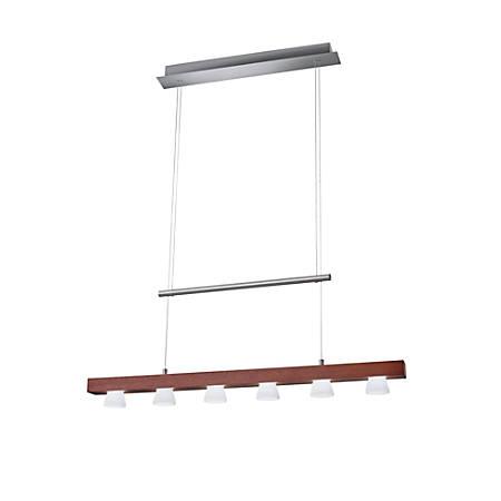 "Adesso® Burlington Hanging Adjustable Pendant Lamp, 6-Light, 69""H, Frosted Shade/Walnut Base"