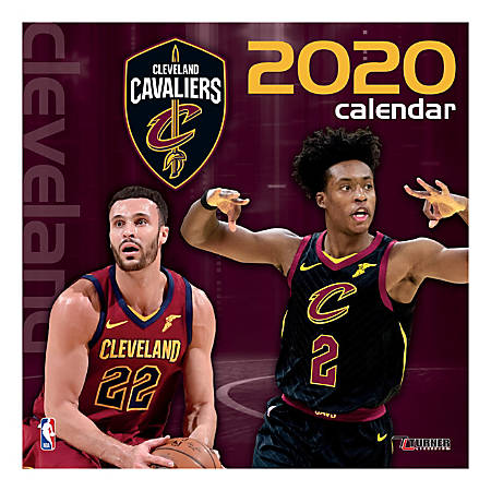 """Turner Licensing Monthly Wall Calendar, 12"""" x 12"""", Cleveland Cavaliers, 2020"""