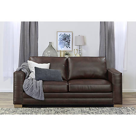 Serta Mason Sofa, Brown Bonded Leather