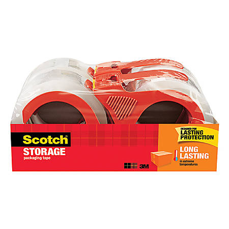"""Scotch® Long Lasting Storage Packing Tape, With Refillable Dispenser, 3"""" Core, 1.88"""" x 38.2 Yd., Clear, Pack Of 4"""