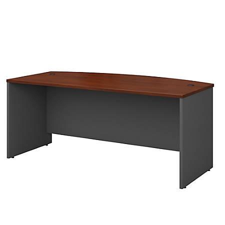 "Bush Business Furniture Components Bow Front Desk, 72""W x 36""D, Hansen Cherry/Graphite Gray, Premium Installation"
