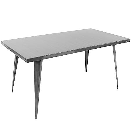 Lumisource Austin Industrial Dining Table, Rectangular, Brushed Silver