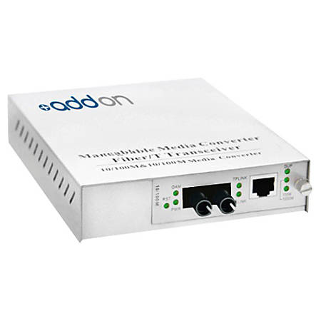 AddOn 10/100Base-TX(RJ-45) to 100Base-BXU(ST) BiDi SMF 1310nm/1550nm 20km Managed Media Converter