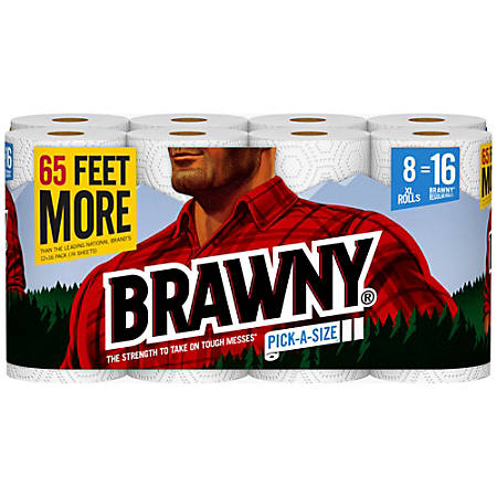 "Brawny® Pick-A-Size® 2-Ply Paper Towels, 5 9/10"" x 11"", White, 130 Sheets Per Roll, Pack Of 8 Rolls"